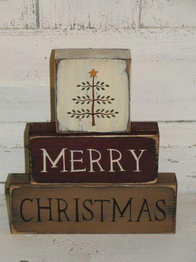 Merry Christmas Wood Block set