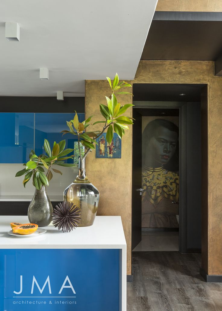 Bright colour, kitchen, feature wall.