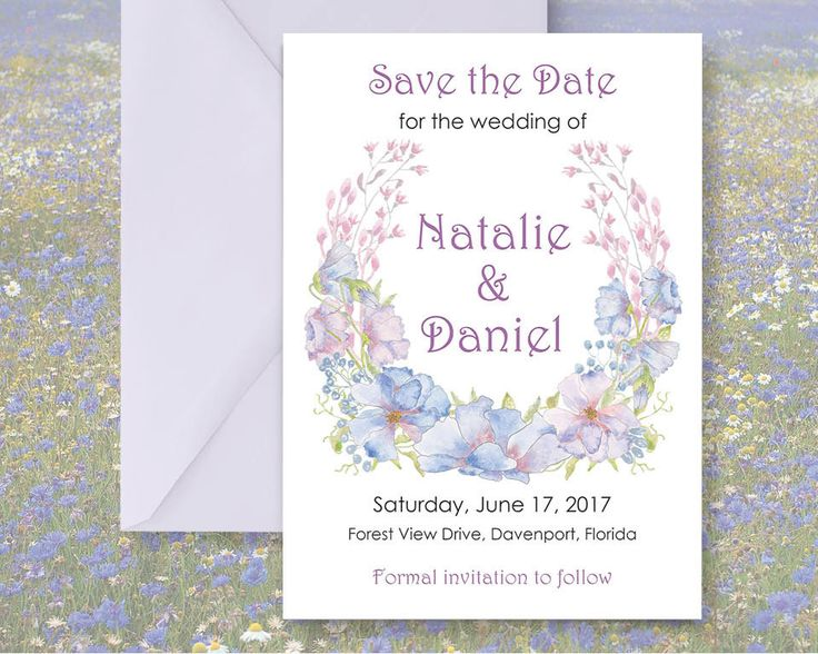 Save the Date; hand painted watercolor Cornflowers; DIY print; includes custom text; printable wedding stationery by LollysLaneShoppe on Etsy