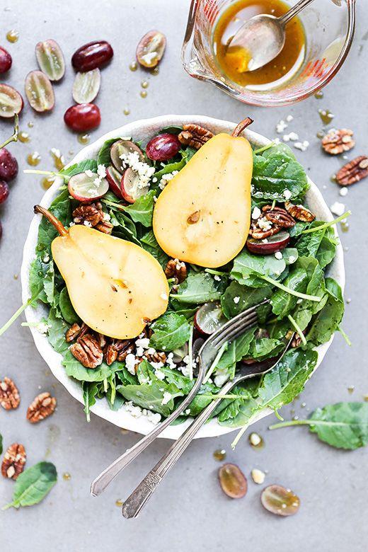Autumn Kale Salad with Sautéed Pears
