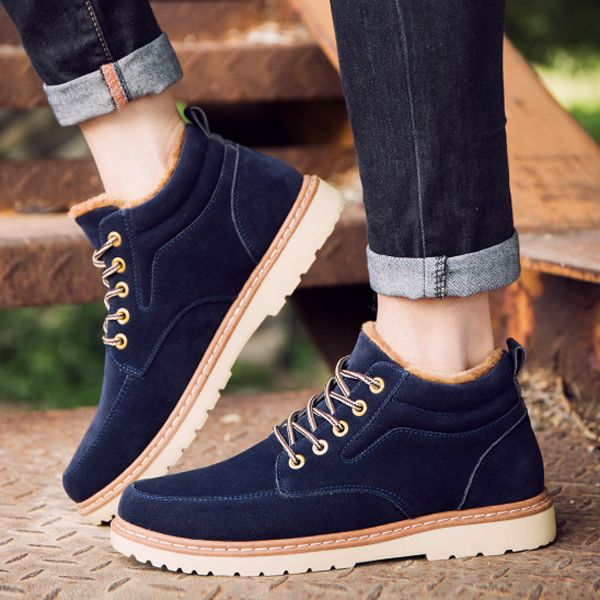 Men Comfortable Warm Fur Lining Suede Lace Up Ankle Boots