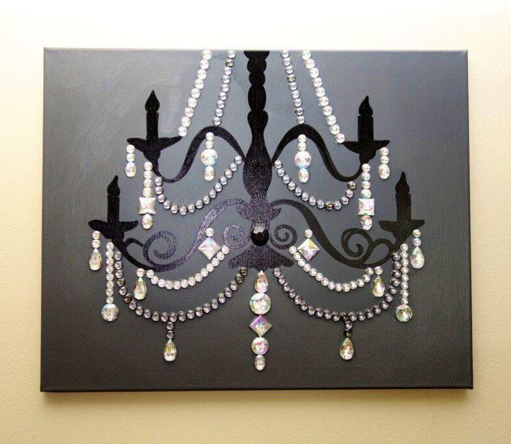 Grey Chandelier (MADE TO ORDER 20x16 Acrylic on Canvas) Pop Art Grey Black Silver Rhinestones Home Decor Wall Art (150.00 USD) by TiffanyUssery