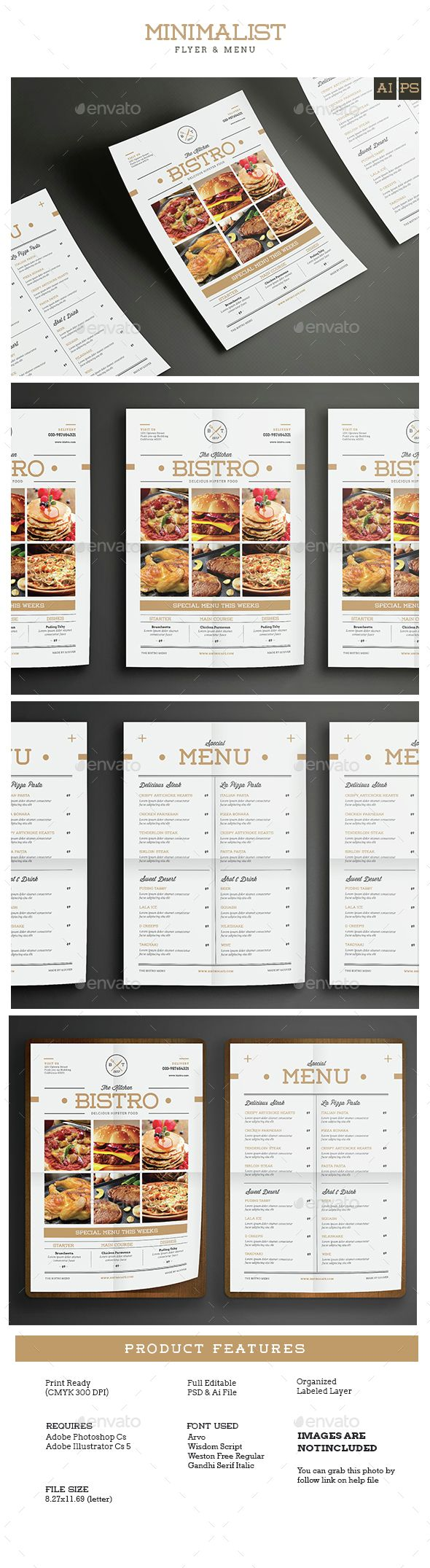 Minimal Restaurant / Food Flyer Menu Template PSD, Vector AI. Download here: http://graphicriver.net/item/minimal-restaurantfood-flyer-menu/14747906?ref=ksioks