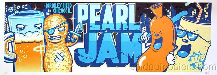 Pearl Jam - 2013 Dabs Myla/Munk One Wrigley Field Chicago poster screen print