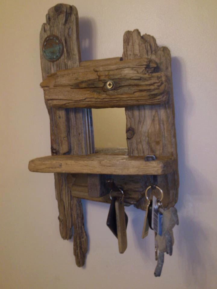 SOLD Small driftwood mirror with shelf two useful hooks for keys flannels waxed & polished SOLD by HighTideDesignUK on Etsy https://www.etsy.com/listing/160324719/sold-small-driftwood-mirror-with-shelf