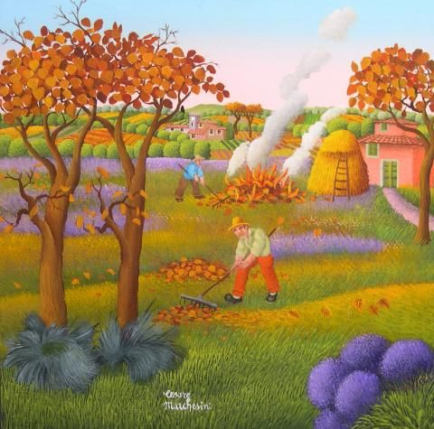 Autumn by Cesare Marchesini, size: 39cmX38cm. Painting matierial: Oil on canvas