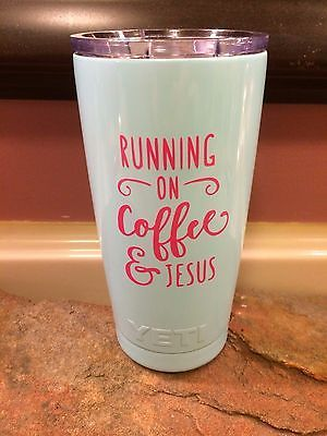 Other Camping Cooking Supplies 16036: 20Oz Light Blue Yeti With Coffee And Jesus Decal BUY IT NOW ONLY: $31.99