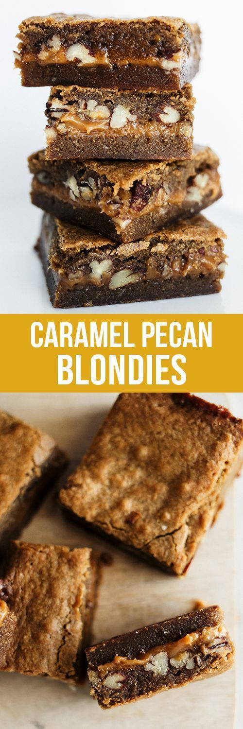 Caramel Pecan Blondies feature an ultra chewy brown sugar blondie with a hidden layer of rich, gooey, and crunchy caramel pecan filling. Out of this world!