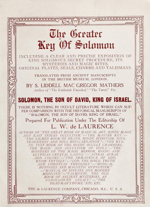 The Greater Key of Solomon FULL BOOK 1914 edition - old