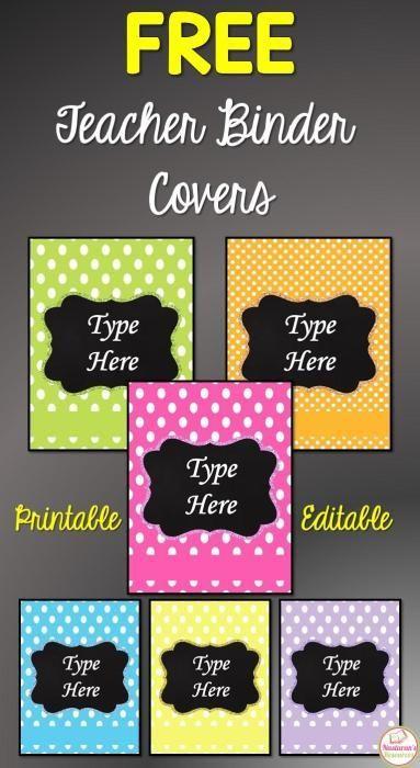 Teacher planner covers free printable! Bright Polka dot Editable teacher binder covers.