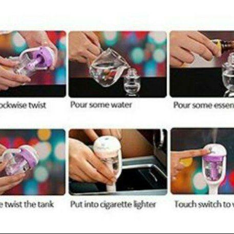 Car Humidifier Aromatherapy  Nanum 50ml Mini USB Aromaterapi humidifier Diffuser Charger Mobil dengan Pemurnian segar Fungsi Purple Warna . Deskripsi : Tegangan kerja: DC 12V Kapasitas Tangki air: 50ml Semprot Volume: 25ml / jam listrik: 1.5W-2W Bekerja sekarang: 130mah-150mAh Fitur: Aromaterapi kreatif humidifier Charger Mobil Menyegarkan udara Lunasi Static Mensterilkan 2 Jam Daya Perlindungan Anti-Kering Gunakan Ultrasonic atomisasi Teknologi 113KHz Frekuensi membuat air menjadi 6um…