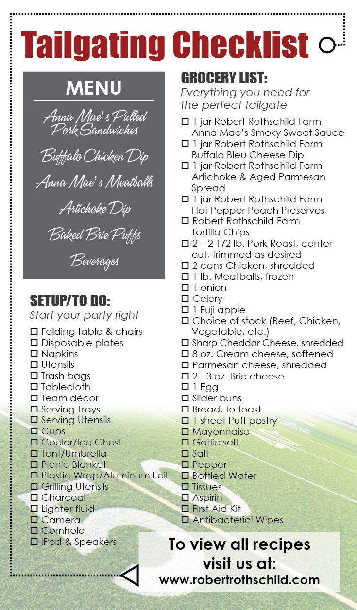 A complete checklist of all you'll need for the PERFECT tailgate from Robert Rothschild Farm.
