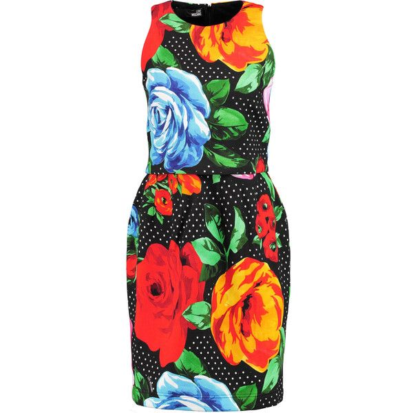 Love Moschino Printed cotton-blend jersey dress (€165) ❤ liked on Polyvore featuring dresses, multi, love moschino, cotton jersey dress, multi color dress, loose fitted dresses and loose fit dress