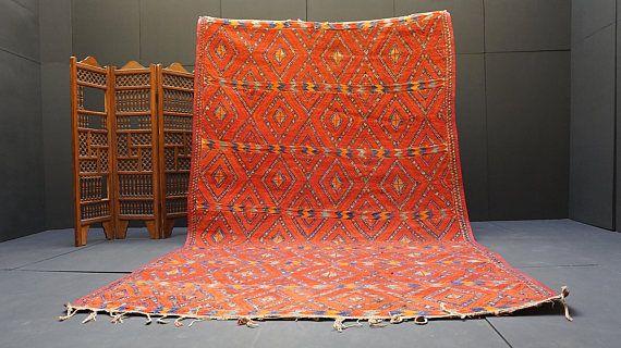 Fabulous moroccan straw wool mat 7x12 African Mat Vintage