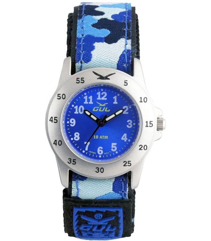 GUL klokke borrelås blå/army