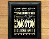 ON SALE Edmonton, Canada, Typography Art Poster / Bus / Transit / Subway Roll Art 8X10-Edmonton's Attractions Wall Art Decoration-LHA-244