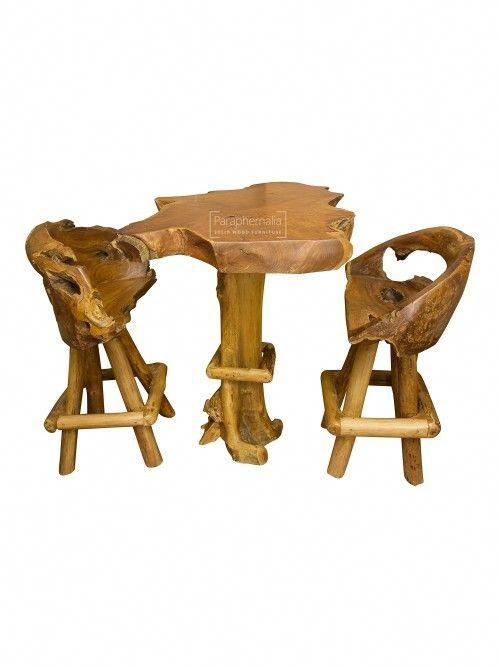 Java Teak Root Wood Bar Table / Kitchen Breakfast Bar Table + Two