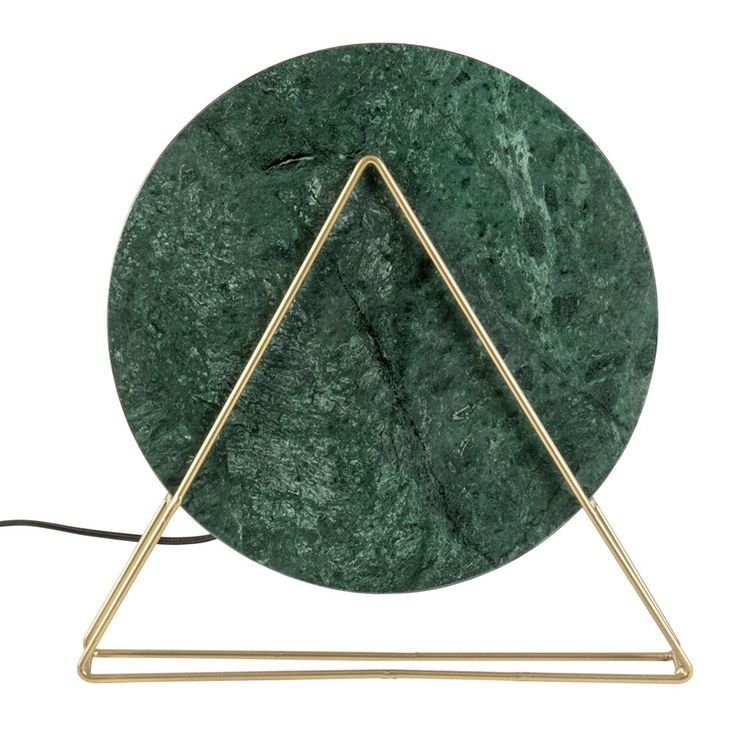 Dutchbone+Louis+Table+Lamp+Marble+Green+-+Green+marble+circular+table+lamp+with+antique+brass+triangular+frame.  Invite+the+striking+graphic+appeal+of+the+Dutchbone+Louis+Table+Lamp+Marble+Green+into+your+home.  Inspired+by+geometry+this+utterly+unique+green+marble+table+lamp+comprises+a+circle+and+triangle+design.  Resting+within+an+industrial+powder+coated+iron+base+with+antique+brass+finish,+the+round+marble+slab+appears+to+float+gracefully+in+mid+air…