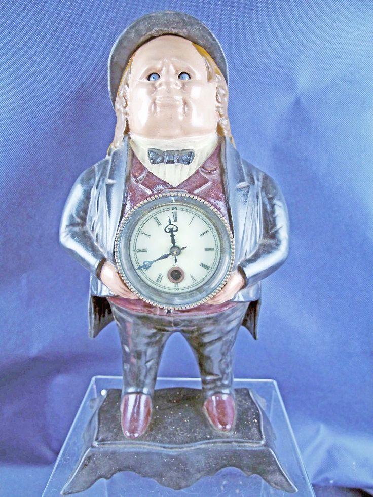 Augenwender-Metallguss-Tischuhr-Mann-mechanische-Uhr-Stiluhr