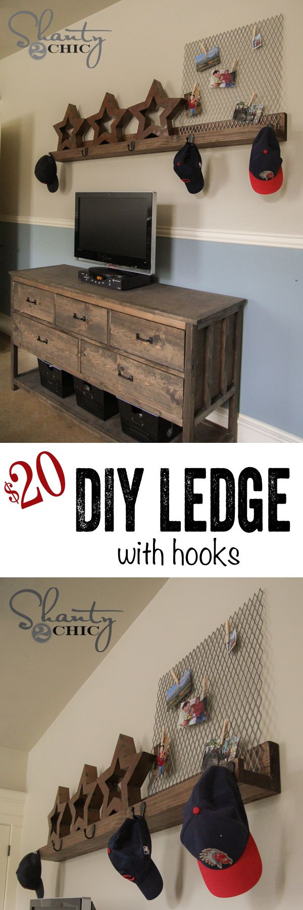 DIY Wall Shelf with Hooks!  Easy and so practical... LOVE it!