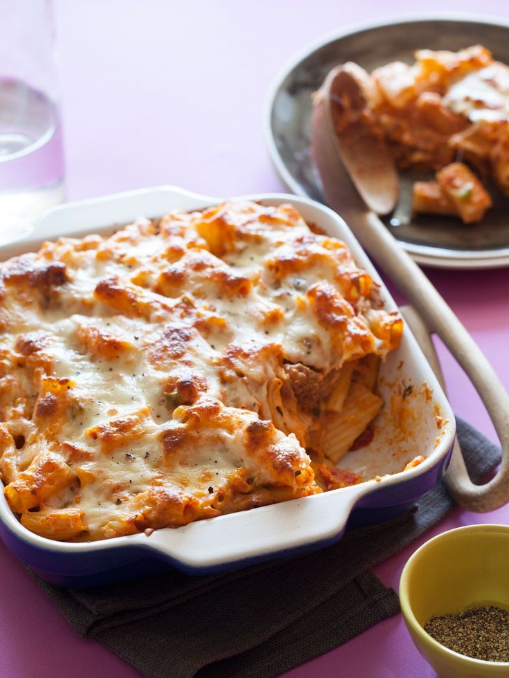 Baked Ziti | Easy Dinner recipe- of course I'd take away the onions, but the rest sounds easy and good
