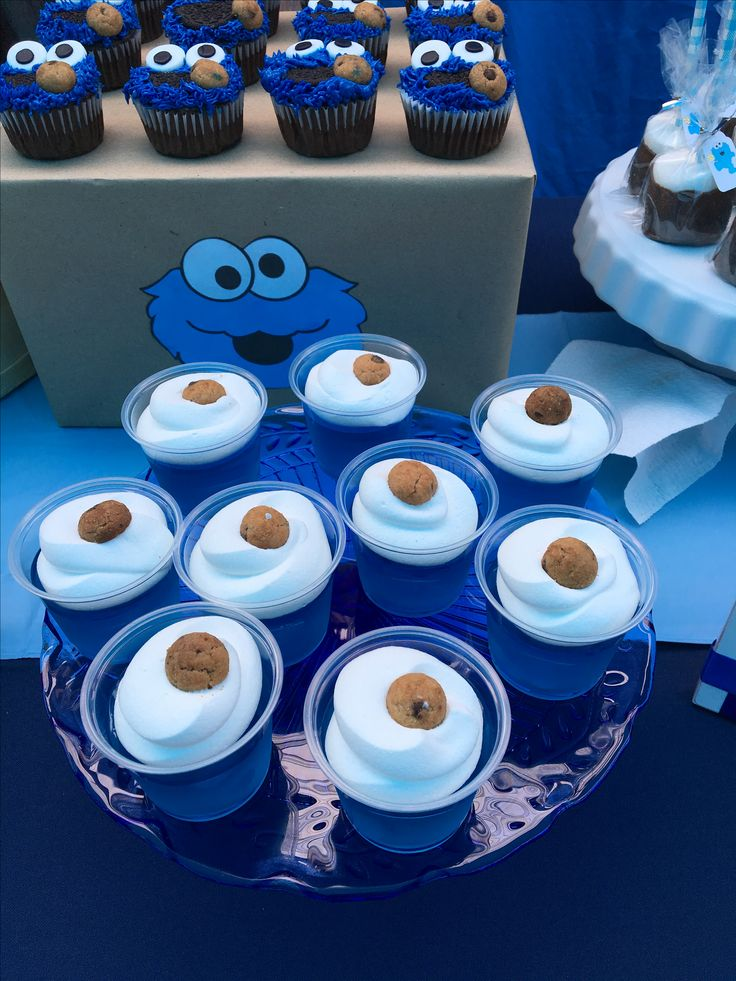 Baby Cookie Monster Baby Shower Cake. See More. From  Customdessertshoppe.com · Blueberry Jellos With Whipped Topping And Topped  With A Mini Chips Ahoy