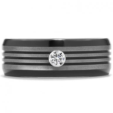 Hearts On Fire Commanding Black Titanium Multi-Groove Bevel Band Composed of classic black titanium, with the added design element of a single, perfectly cut diamond, this stately mens band has a bold, masculine look. With multiple bevels in the center, this ring has a truly unique, yet comfortable, design.
