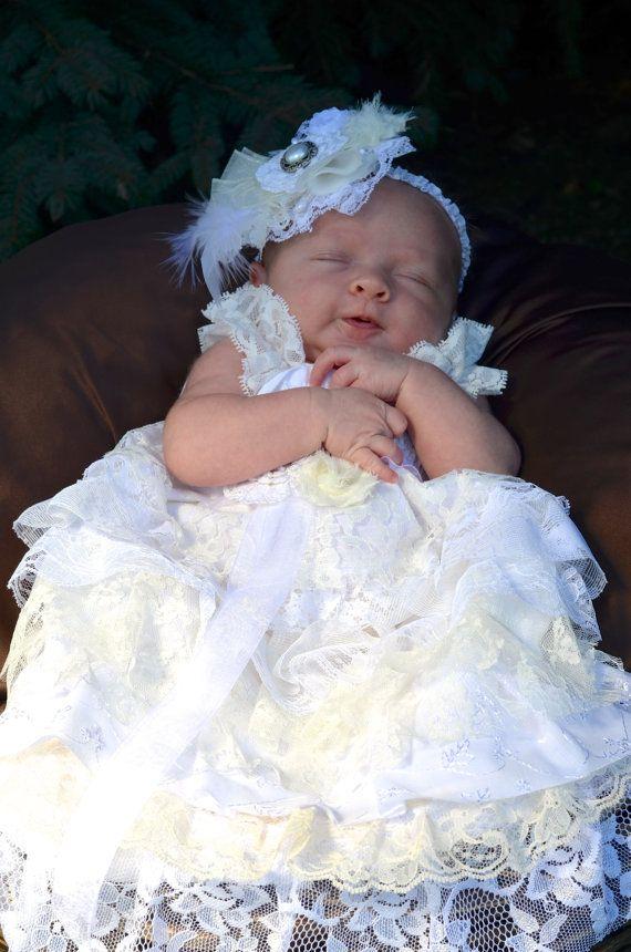 Baby Lace Baptism Dress -  Ruffled Lace Dress - Angel Baby Ruffles - Christening Dress - Shabby Chic - Custom Order Sizes 0 - 9 months on Etsy, $59.00