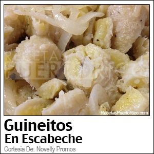 Guineitos en Escabeche (pickled green bananas with onions, pepper corns, olive oil and a hint of vinegar)