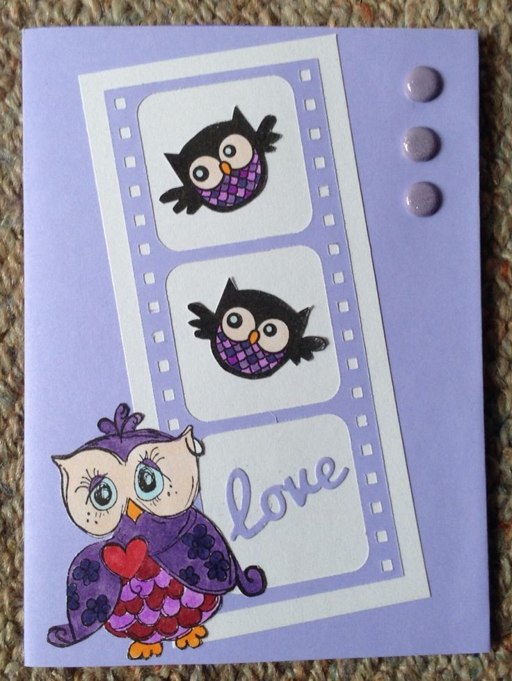 Owl card l made for my Mum for Mother's Day :)) #Stamps, #Dies, #Colouring. :)) May 2015