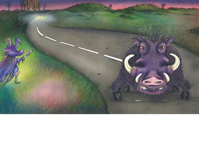 Signed limited edition print 'Road Hog' by Michele Dodd from picture book 'Cats, Bats & Witches Hats'. Available at Books Illustrated. http://www.booksillustrated.com.au/bi_prints_indiv.php?id=56&image_id=308