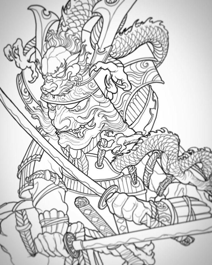 coloring pages of a samurai warrior | 236 best แบบสักซามูไร images on Pinterest | Irezumi ...