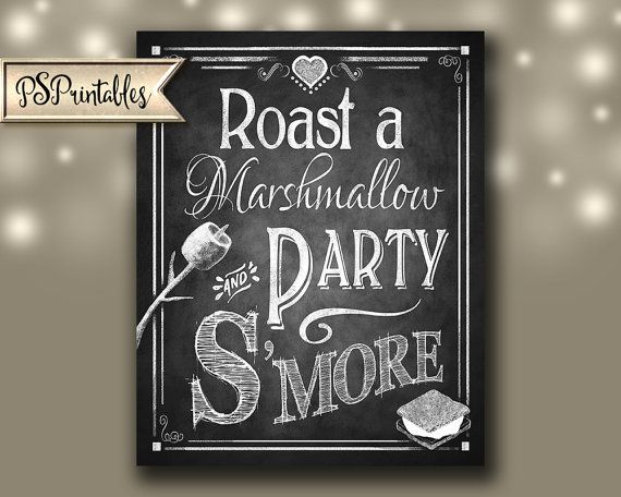 Smore Wedding sign Roast a Marshmallow and Party by PSPrintables