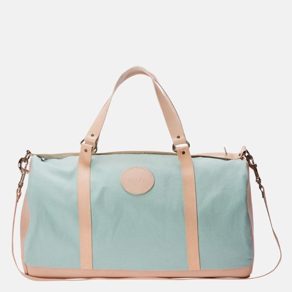 Ilundi - Linen and Leather Duffel Bag – Blue