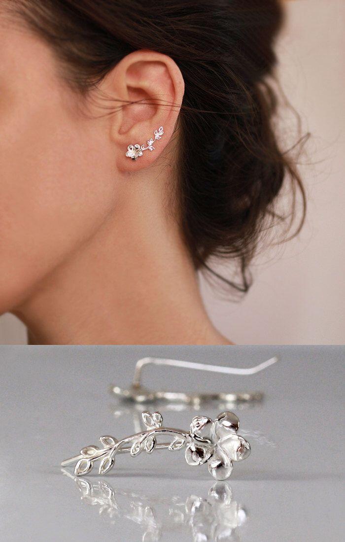 Flower and Leaves Ear cuff ,   Ear Climber , STERLING SILVER Earrings , Stud , Gift for her , Dainty earrings by sigalitaJD on Etsy https://www.etsy.com/listing/241191386/flower-and-leaves-ear-cuff-ear-climber