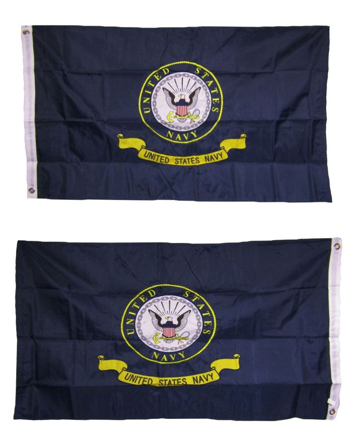 2X3 Embroidered U.S. Navy Emblem Crest 210D Nylon Double Sided Flag 2 Clips