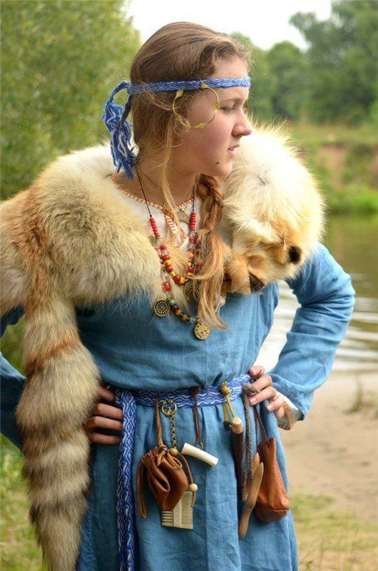 Slavic Rus girl, of the Novgorod Ilmen Slovene tribe, based on the temple rings