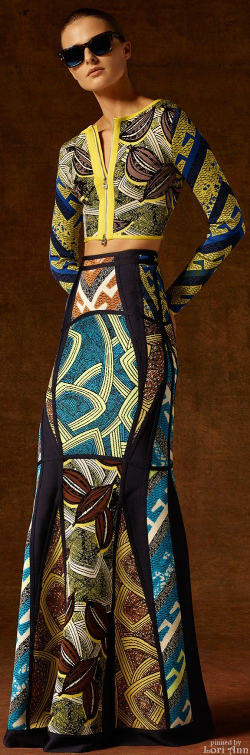 Hervé Léger by Max Azria Pre-Fall 2015.  What bold colors and patterns. Perfect for a tropical  vacation.