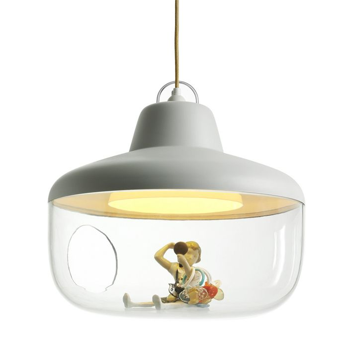 "ENO & Chen Karlsson's Favorite Things Pendant Lamp ~ ""Now you can really give your little treasures the best light in the room. This combo vitrine and pendant lamp showcases mementos, objets d'art and other valued trinkets in a transparent tank with a light overhead."""