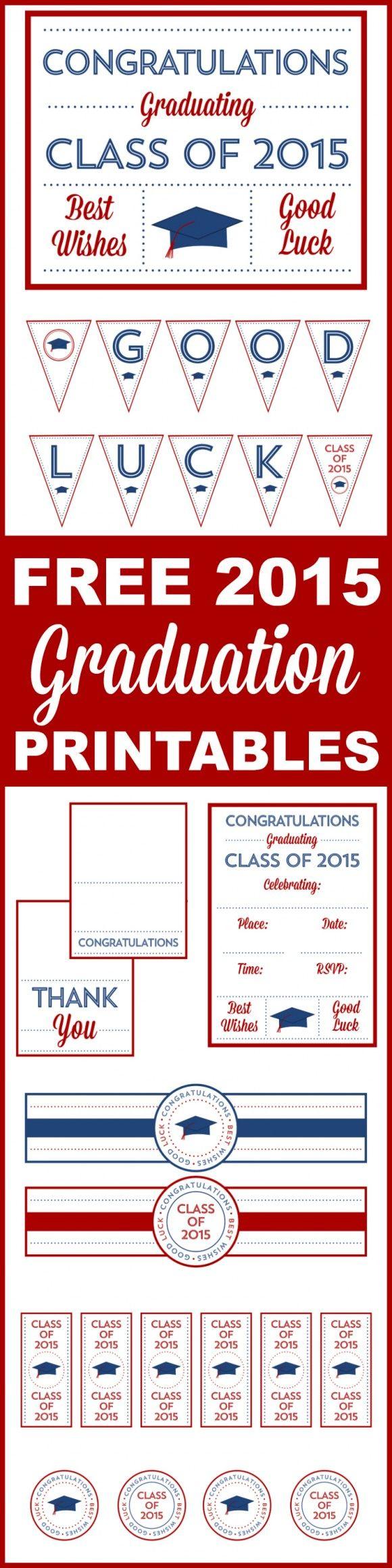 Free 2015 Graduation Printables | CatchMyParty.com