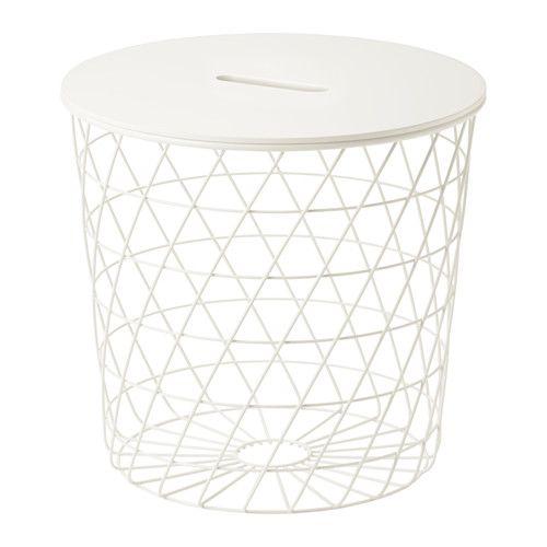 IKEA - KVISTBRO, Opbergtafel, wit, , In de mand is plaats voor alles van plaids en kussens tot kranten en garen - maar je kan hem ook leeg laten voor een luchtige, open uitstraling.Er zit een opening in het tafelblad, waardoor je dit makkelijk kan optillen, zodat je bij de inhoud van de