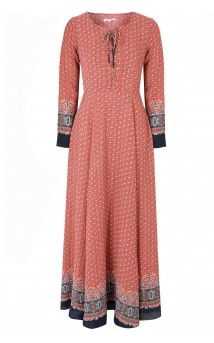 Red Navy Border Print Lace Up Maxi Dress
