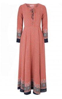 Red Navy Border Print Lace Up Maxi Dress