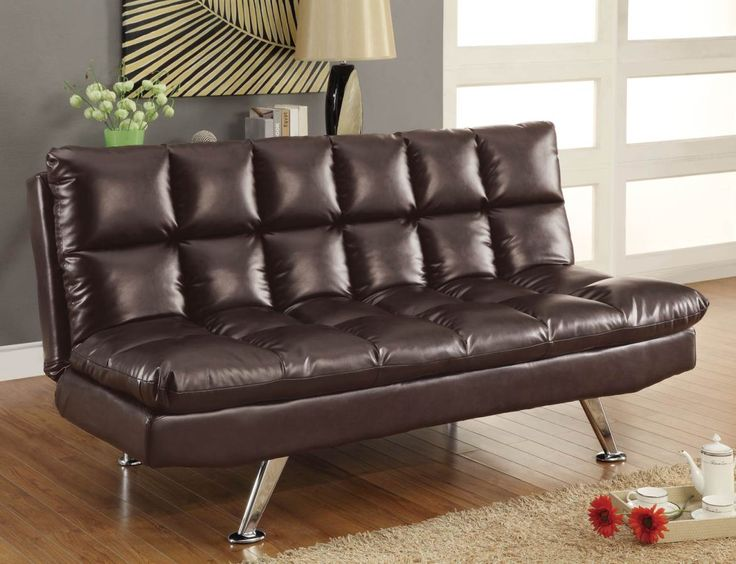 Dark Tri  Tone Brown Sofa Bed 300122 By Coaster Features A Dark Tri  Tone  Brown Leather   Like Vinyl Upholstery, Extra Plush Pillow   Top Cushions,  ...