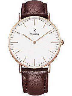 Alienwork IK Quarz Armbanduhr elegant Quarzuhr Uhr modisch Zeitloses Design klassisch rose gold braun Leder 98469L-05