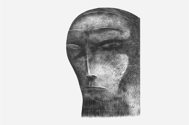 Даши Намдаков — Портрет молодого человека Бумага, уголь