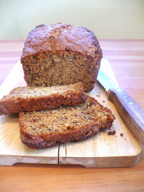 Banana Bread- I used half and half flour and wheat flour, and I also added 2 cups of blueberries! Mmmmmmm! (Alicia)