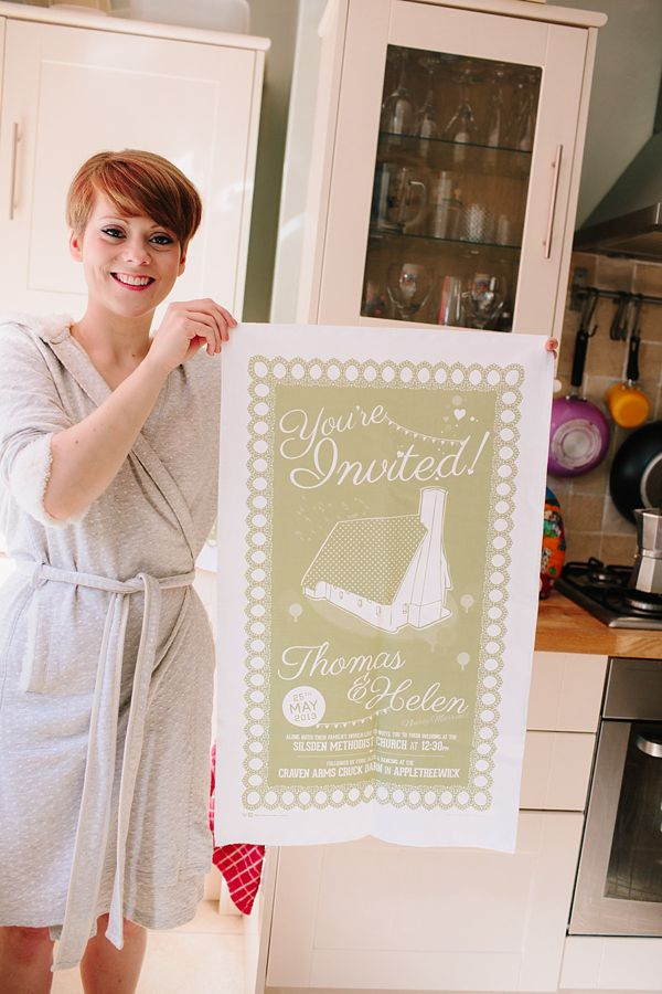 Fun wedding invitation tea towel. Photography by www.johnhopephotography.com