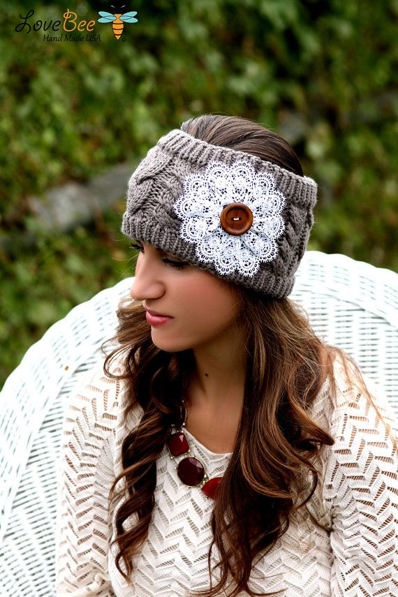 Hippie Headband Knitting Pattern : Boho Headband - Knitted , Cable Knit, Charcoal , Gray ...