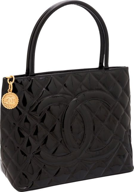 Chanel ~ Black Patent Leather Medallion Tote Bag